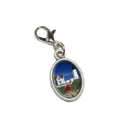 Graphics and More Nubble Lighthouse Maine - Rowboat Antiqued Bracelet Pendant Zipper Pull Oval Charm with Lobster Clasp