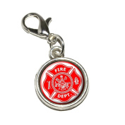 Graphics and More Firefighter Firemen Maltese Cross Red Antiqued Bracelet Pendant Zipper Pull Charm with Lobster Clasp