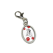 Graphics and More American Pit Bull of Distinction Antiqued Bracelet Pendant Zipper Pull Oval Charm with Lobster Clasp