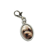 Graphics and More Yorkshire Terrier - Yorkie Dog Pet Antiqued Bracelet Pendant Zipper Pull Oval Charm with Lobster Clasp