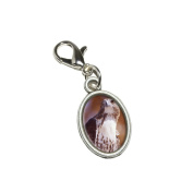 Graphics and More Hawk Raptor Antiqued Bracelet Pendant Zipper Pull Oval Charm with Lobster Clasp