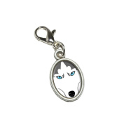 Graphics and More Siberian Husky Dog Pet Antiqued Bracelet Pendant Zipper Pull Oval Charm with Lobster Clasp