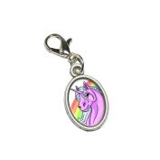 Graphics and More Pink Unicorn on Rainbow Antiqued Bracelet Pendant Zipper Pull Oval Charm with Lobster Clasp