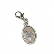 Graphics and More Miniature Schnauzer - Pet Dog Antiqued Bracelet Pendant Zipper Pull Oval Charm with Lobster Clasp
