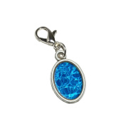 Graphics and More Swimming Pool Blue Water Antiqued Bracelet Pendant Zipper Pull Oval Charm with Lobster Clasp
