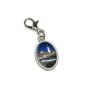 Graphics and More Maine Lighthouse - Portland Head Antiqued Bracelet Pendant Zipper Pull Oval Charm with Lobster Clasp