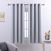 Eyelets Blackout Windows Curtains Panels - PONYDANCE Energy Saving Thermal Insulated / Room Darkening Drapery Soft Solid, 130cm Width by 160cm Length,