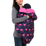 BundleBean babywearing:all-weather waterproof sling and carrier cover Navy Pink Flamingos