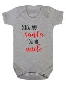 Screw You Santa I Got My Uncle Cheeky Christmas Baby Grow Bodysuit for 18-24 months babies in Grey