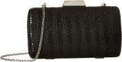 Jessica McClintock Platium Elegant Mesh Clutch Black Aluminium Mesh Gift Box with Drop-in Chain Shoulder Strap Satin Lined