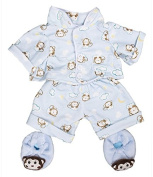 Blue monkey pyjamas & slippers pjs outfit / teddy clothes to fit 38cm Build a Bear bears
