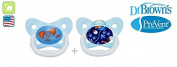 """DR BROWN """"PRE VENT"""" Nr.PV22402 - 2x Soothers Pacifiers Dummies Orthodontic Silicone Suction Air Free Channel/BLUE"""