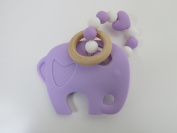 Chubby Cheeks Silicone Elephant With Teething Beads Wood Ring Baby Teeting Relief Teether Teething Toy