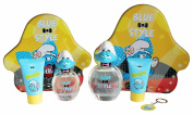Smurfs Vanity Gift Sets Bundle for Kids - Eau de Toilette + Shower Gel + Key Ring + Tin Cans - Blue Style