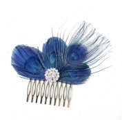 Navy Blue Silver Peacock Feather Hair Comb Fascinator 1920s Flapper Vintage 749 *EXCLUSIVELY SOLD BY STARCROSSED BEAUTY*