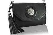 FERETI Black handbag clutch purse chain silver and 3D lion Shoulder Bag