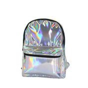 Flada Girl's Sliver Holographic Laser Leather School Backpack Travel Casual Daypack Silver