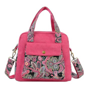 Ladies Womens Vintage Shoulder Bag Classic Printing Pattern Canvas Tote Bag Handbags Satchel Rose