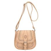 Women's Vintage Shoulder Bag Faux Leather Hollow Pattern Crossbody Bags Tote Satchel Beige