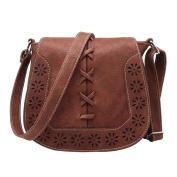 Vintage Elegant Designer Style Handbag Small Shoulder Bag Hollow Pattern For Women Ladies Girls Red Brown
