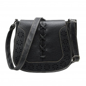 Vintage Elegant Designer Style Handbag Small Shoulder Bag Hollow Pattern For Women Ladies Girls Black