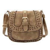 Ladies Small Handbag PU Leather Crossbody Shoulder Bag Hollow Pattern Messenger Bag Khaki