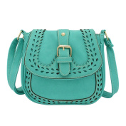 Ladies Small Handbag PU Leather Crossbody Shoulder Bag Hollow Pattern Messenger Bag Lake Blue
