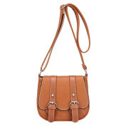 Ladies Womens Vintage PU Leather Messenger Shoulder Small Shoulder Bag Messenger Bags Light Brown