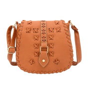 Ladies Handbags Fashion PU leather Portable Shoulder Bag Weaving Style Messenger Bag Brown