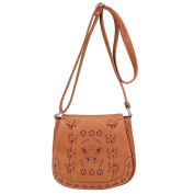 Womens Vintage PU Leather Small Shoulder Bag Hollow Pattern Messenger Bags College Handbag Light Brown