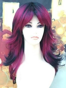 Forever Young Ladies Long Tappered Style Fashion Wig 2 Tone Burgundy Purple & Black Tips