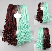 Women's Wig Cosplay Wig with 2x Clip In Brown And Green Pigtails 70 cm