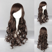 Women's Wig Cosplay Wig Dark Brown Long Curly Wavy With Fringe 65 cm
