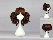 Women's Wig Cosplay Wig with Clip In Dark Brown Pigtails Approximately 35 cm