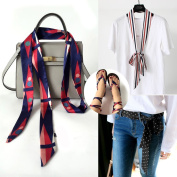 Multifunctional Fashionable Women's Long Skinny Thin Scarf Tie Sash Scarves Silky Satin Neckerchief Bag Band for Xmas Gift