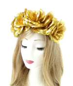 Large Gold Rose Flower Headband Halloween Sugar Skull Garland Hair Crown 756 *EXCLUSIVELY SOLD BY STARCROSSED BEAUTY*