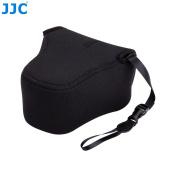 JJC OC-F2BK Black Neoprene Mirrorless Camera Case for Fujifilm X-T10, X-A1, X-A2, X-M1 + 16-50mm or 18-55mm lens, Olympus E-M10II, E-M5II + 14-42mm II Lens, E-PL8 + 12-50mm Lens