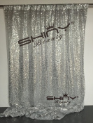 ShinyBeauty 1.2m x 1.8m Silver Sequin Photo Booth Backdrop Wedding Photobooth Props Shimmer Curtain