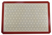 IKOCO Silicone Baking Mat for Macarons, Full Sheet Size 23.5*41cm Coffee, Reusable Non-Stick Liner for Bake Pan, Rolling Mat, Cookies Sheet, Pizza Dough