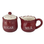 Better & Best 2891901 - Ceramic Sugar Bowl and Milk Jug, Red