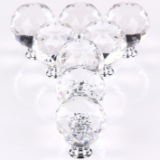 MultiWare Door Knob 8*50mm Clear Crystal Glass Cupboard Drawer Cabinet Kitchen Handles