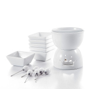 Malacasa, Series Favour, Two Compartments Ivory White Ceramic Porcelain Tealight Candle Cheese Butter Chocolate Fondue Set with 6 Dipping Bowls 6 Forks