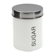 Harbour Housewares Metal Sugar Canister - White