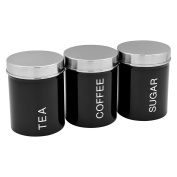 Harbour Housewares Metal Tea, Coffee, Sugar Canister Set - Black