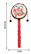 Efbock Red Black Plastic Chinese Traditional Rattle Drum Spin Toy for Baby
