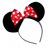MINNIE MINI MOUSE EARS WITH RED AND WHITE SPOT BOW HEADBAND HAIRBAND by Disney