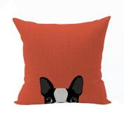 Nunubee Cotton Linen Square Throw Pillow Case Decorative Cushion Cover Pillowcase for Sofa Yellow Dogs