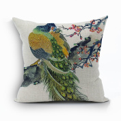 Nunubee Vintage Peacock Home Pillow Cover Cotton Linen Bed Pillowcase Square Cushion 2