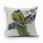 Nunubee Vintage Peacock Home Pillow Cover Cotton Linen Bed Pillowcase Square Cushion 10
