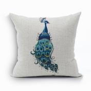 Nunubee Vintage Peacock Home Pillow Cover Cotton Linen Bed Pillowcase Square Cushion 1